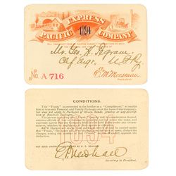 Pacific Express Company Annual Pass (1894) (Pictorial) Issued to Union Pacific Chief Engineer