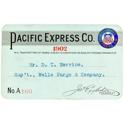 Pacific Express Company Pass Issued to Wells Fargo Superintendent