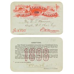 Pacific Express Company Pass Issued to Wells Fargo Superintendent (1898)