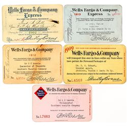 Wells Fargo Express Annual Passes (5): 1902-1916