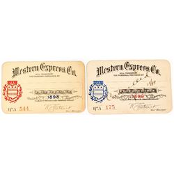 Western Express Company Annual Passes: 1898 & 1899