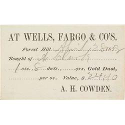Wells Fargo & Co. Receipt for Gold Dust