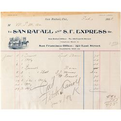 San Rafael and S.F. Express Shipping Invoice