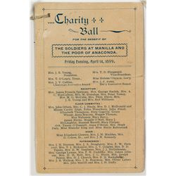 Montana Spanish American War Charity Ball Program (1899)