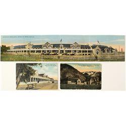3 Montana Hotel Postcards With Rare 3 Panel Panorama