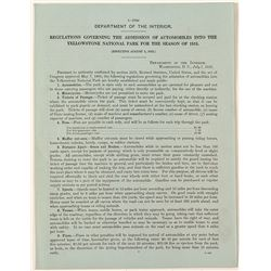 Rare Handbill on The Admission of Automobiles Into Yellowstone