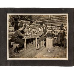 Oliver Iron Mining Company Poker Game in Trapper's Cabin Photograph (Minnesota, 1918)
