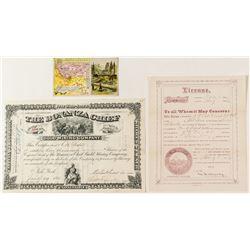 Three Nice Montana Documents: Stock, Trade Card, Billiard License