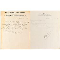 Two Silver Dollar Saloon Billheads: Gilt Edge & Belt