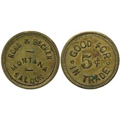 Ross & Becker Montana Saloon Token (Billings, Montana)