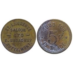 St. Lawrence Saloon Token (Butte, Montana)