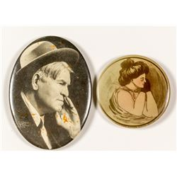 Two Montana Advertising Mirrors: Charles Russell & Victorian Woman