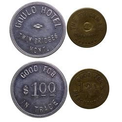 Two Madison County Tokens from Sheridan and Twin Bridges.