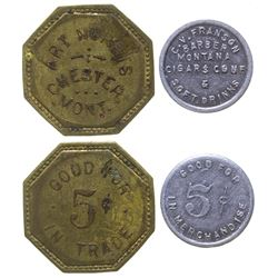 Two R-7 Montana Tokens: Chester & Barber