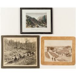 3 Different California Views: Gold Rush Illustration & Two Mounted Photographs