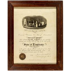 Sons of Temperance Certificate (1844) (Connecticut)