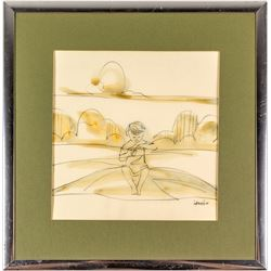 Drawing of Child in Landscape