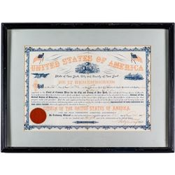 1887 US Citizenship Certificate for Emil Ely of Germany