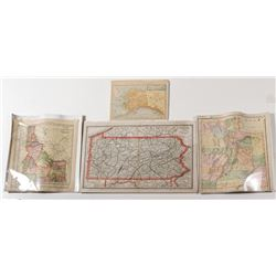 4 State Maps c.1880s: Alaska, Idaho, Pennsylvania, Utah