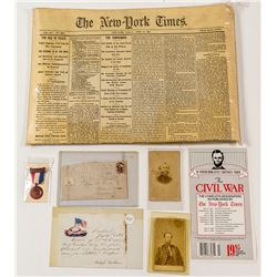 Civil War Collection: Newspaper, Letter & Cover, Photographs, Badge