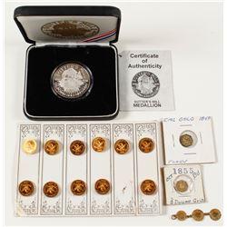 California Gold Rush Pins, Gold Tokens & Silver Medal