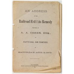 """Rare A.A. Cohen Booklet: """"An Address On The Railroad Evil and Its Remedy"""" (1879)"""