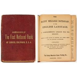 1892 Dictionary Compliments of First National Bank, Denver