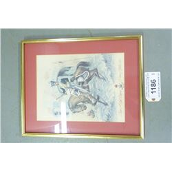 FRAMED PRINT TROOPER 12TH LIGHT DRAGOONS BELGIUM 1815