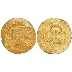 "Mexico City, Mexico, cob 8 escudos, 1714J, ""GRAT"" variety, encapsulated NGC MS 61, from the 1715 Fle"