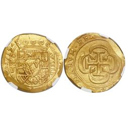 Mexico City, Mexico, cob 8 escudos, 1715J, encapsulated NGC MS 63, from the 1715 Fleet (stated insid