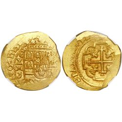 Mexico City, Mexico, cob 4 escudos, 1713J, encapsulated NGC MS 64, from the 1715 Fleet (stated insid