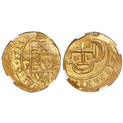 Mexico City, Mexico, cob 2 escudos, 1714J, encapsulated NGC MS 62, from the 1715 Fleet.
