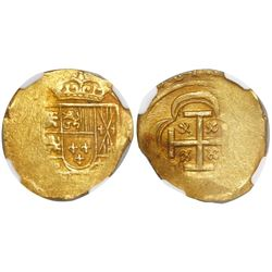 Mexico City, Mexico, cob 2 escudos, (1714)J, encapsulated NGC MS 62, from the 1715 Fleet.