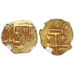 Mexico City, Mexico, cob 1 escudo, 1704L, encapsulated NGC AU 53, very rare, from the 1715 Fleet.