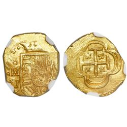 Mexico City, Mexico, cob 1 escudo, 1714J, encapsulated NGC MS 65, finest known in NGC census, from t