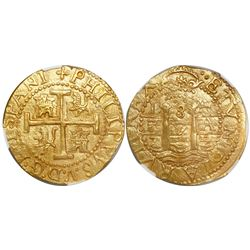 Lima, Peru, cob 8 escudos, 1704H, rare, encapsulated NGC MS 62, finest known in NGC census, from the