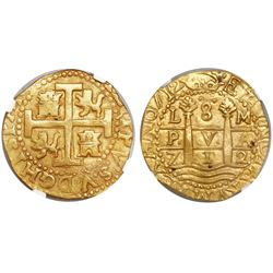 Lima, Peru, cob 8 escudos, 1712M, encapsulated NGC MS 62, from the 1715 Fleet (stated inside slab).