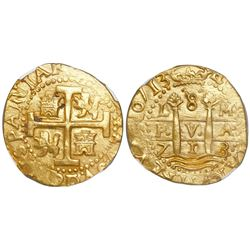 Lima, Peru, cob 8 escudos, 1713M, encapsulated NGC MS 63, finest known in NGC census, from the 1715