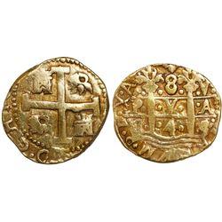Lima, Peru, cob 8 escudos, 1745/4V, rare overdate.
