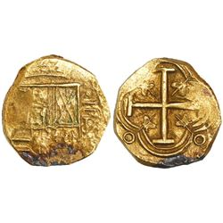 Bogota, Colombia, cob 2 escudos, Philip IV, assayer R to right (ca. 1654), from the Maravillas (1656