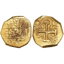 Bogota, Colombia, cob 2 escudos, posthumous Charles II, no assayer (Arce), from the 1715 Fleet.