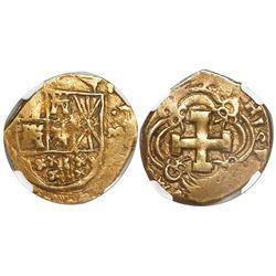 Bogota, Colombia, cob 2 escudos, Philip V, assayer M to right (1732-44), encapsulated NGC XF 40, ex-