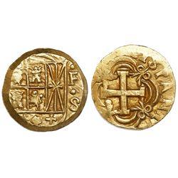Bogota, Colombia, cob 2 escudos, Ferdinand VI, assayer S (1747-56) below mintmark F to right.