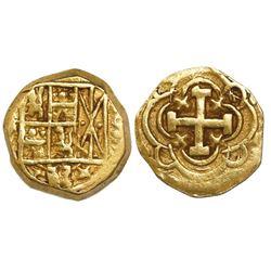 Bogota, Colombia, cob 1 escudo, Philip V, assayer S to right, mintmark F to left.