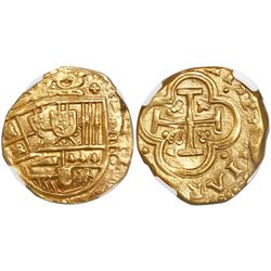 Madrid, Spain, cob 4 escudos, Philip IV, assayer not visible (ca. 1650), encapsulated NGC MS 63, ex-