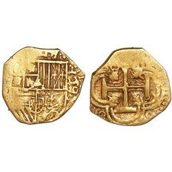 Seville, Spain, cob 1 escudo, 1595, assayer not visible.