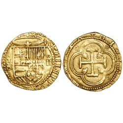 Toledo, Spain, cob 2 escudos, Philip II, assayer M-in-circle below mintmark oT to left.