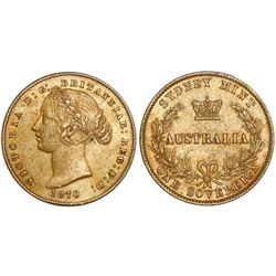 Sydney, Australia, sovereign, Victoria (young bust), 1870, from the Schiehallion (1879).