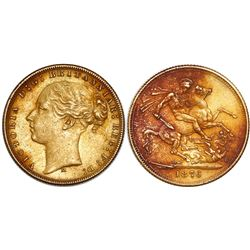 Melbourne, Australia (under Great Britain), sovereign, Victoria (young bust), 1876-M, horse reverse,