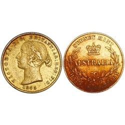 Sydney, Australia, half sovereign, Victoria (young bust), 1865, rare, from the Schiehallion (1879).